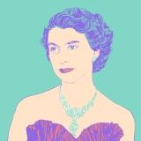 the queen, queen Elizabeth II, HRH, portrait, illustration,